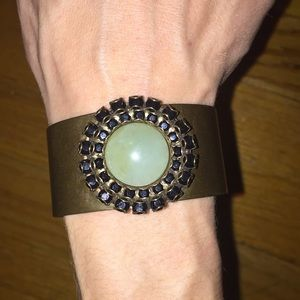 Jewelry - Bronze cuff bracelet with large green stone